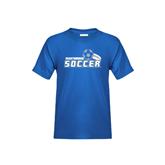 Youth Royal T Shirt-Soccer Swoosh Design