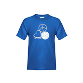 Youth Royal T Shirt-Peace, Love, and Volleyball