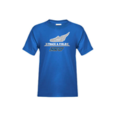 Youth Royal T Shirt-Track and Field Side Shoe Design