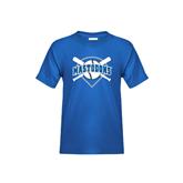 Youth Royal T Shirt-Softball Bats and Plate Design