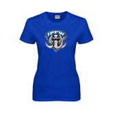 Ladies Royal T Shirt-IPFW Mastodon Shield Distressed