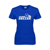 Ladies Royal T Shirt-Soccer Swoosh Design