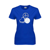 Ladies Royal T Shirt-Peace, Love, and Volleyball