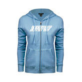 ENZA Ladies Light Blue Fleece Full Zip Hoodie-IPFW