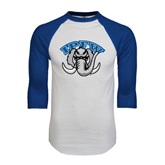 White/Royal Raglan Baseball T Shirt-Arched IPFW with Mastodon