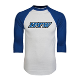 White/Royal Raglan Baseball T Shirt-IPFW
