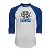 White/Royal Raglan Baseball T Shirt-Mastodon with IPFW