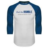 White/Royal Raglan Baseball T Shirt-Feel the Rumble