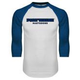 White/Royal Raglan Baseball T Shirt-Fort Wayne Mastadons
