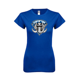 Next Level Ladies SoftStyle Junior Fitted Royal Tee-IPFW Mastodon Shield