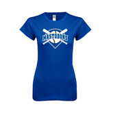 Next Level Ladies SoftStyle Junior Fitted Royal Tee-Softball Bats and Plate Design