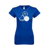 Next Level Ladies SoftStyle Junior Fitted Royal Tee-Peace, Love, and Volleyball