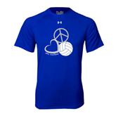 Under Armour Royal Tech Tee-Peace, Love, and Volleyball