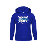 Youth Royal Fleece Hoodie-Softball Bats and Plate Design