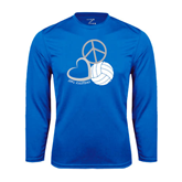 Syntrel Performance Royal Longsleeve Shirt-Peace, Love, and Volleyball