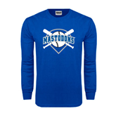 Royal Long Sleeve T Shirt-Softball Bats and Plate Design