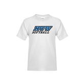 Youth White T Shirt-Softball