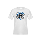 Youth White T Shirt-IPFW Mastodon Shield Distressed