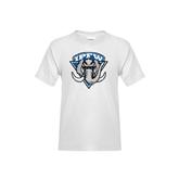 Youth White T Shirt-IPFW Mastodon Shield Distressed