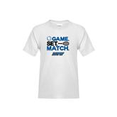 Youth White T Shirt-Game Set Match Tennis Design