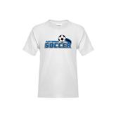Youth White T Shirt-Soccer Swoosh Design