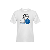 Youth White T Shirt-Peace, Love, and Volleyball
