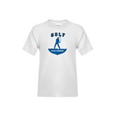 Youth White T Shirt-Golfer Golf Design