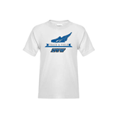 Youth White T Shirt-Track and Field Side Shoe Design