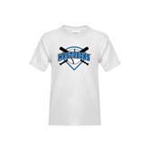 Youth White T Shirt-Softball Bats and Plate Design