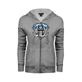 Ladies Grey Fleece Full Zip Hoodie-IPFW Mastodon Shield
