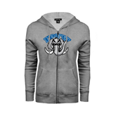 Ladies Grey Fleece Full Zip Hoodie-Arched IPFW with Mastodon