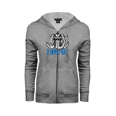 Ladies Grey Fleece Full Zip Hoodie-Mastodon with IPFW