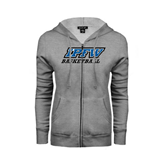 Ladies Grey Fleece Full Zip Hoodie-Basketball