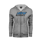 Ladies Grey Fleece Full Zip Hoodie-Baseball