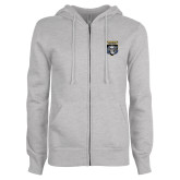 ENZA Ladies Grey Fleece Full Zip Hoodie-Primary Athletic Logo