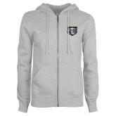 ENZA Ladies Grey Fleece Full Zip Hoodie-Icon