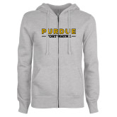 ENZA Ladies Grey Fleece Full Zip Hoodie-Athletics Primary Wordmark