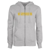 ENZA Ladies Grey Fleece Full Zip Hoodie-Secondary Athletics Wordmark