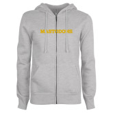 ENZA Ladies Grey Fleece Full Zip Hoodie-Secondary Athletic Wordmark -Mastodons