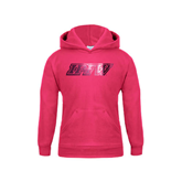 Youth Raspberry Fleece Hoodie-IPFW Distressed Foil