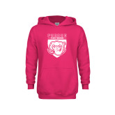 Youth Raspberry Fleece Hoodie-Primary Athletic Logo