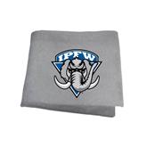 Grey Sweatshirt Blanket-IPFW Mastodon Shield