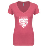 Next Level Ladies Vintage Pink Tri Blend V Neck Tee-Primary Athletic Logo