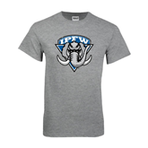Grey T Shirt-IPFW Mastodon Shield Distressed