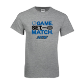 Grey T Shirt-Game Set Match Tennis Design