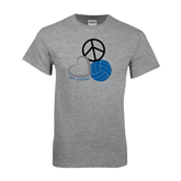 Grey T Shirt-Peace, Love, and Volleyball
