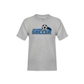 Youth Grey T-Shirt-Soccer Swoosh Design