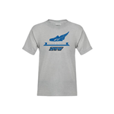 Youth Grey T-Shirt-Track and Field Side Shoe Design