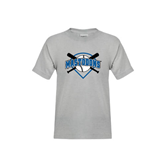 Youth Grey T-Shirt-Softball Bats and Plate Design