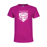 Youth Cyber Pink T Shirt-Primary Athletic Logo